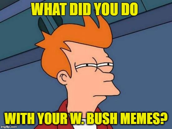 Futurama Fry Meme | WHAT DID YOU DO WITH YOUR W. BUSH MEMES? | image tagged in memes,futurama fry | made w/ Imgflip meme maker