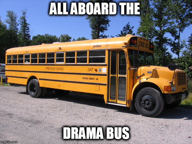 school bus | ALL ABOARD THE DRAMA BUS | image tagged in school bus | made w/ Imgflip meme maker
