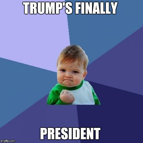Success Kid Meme | TRUMP'S FINALLY PRESIDENT | image tagged in memes,success kid | made w/ Imgflip meme maker