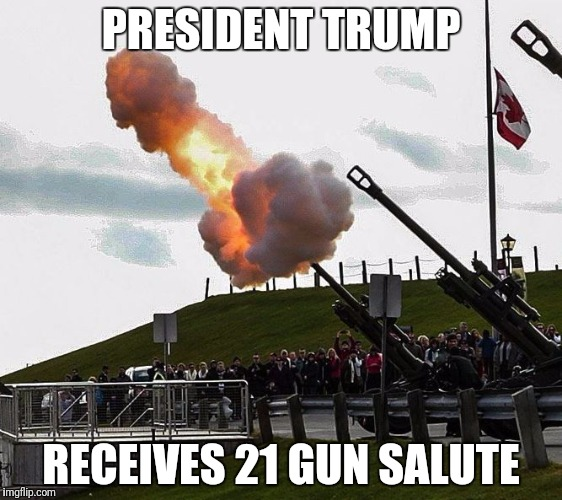Not a Penis | PRESIDENT TRUMP RECEIVES 21 GUN SALUTE | image tagged in cannon,donald trump,election 2016 | made w/ Imgflip meme maker
