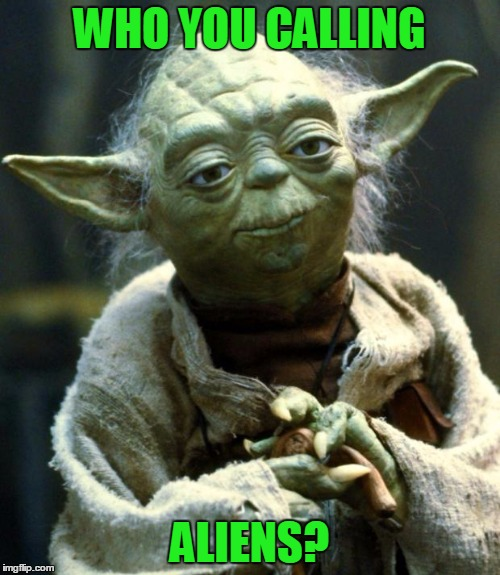 Star Wars Yoda Meme | WHO YOU CALLING ALIENS? | image tagged in memes,star wars yoda | made w/ Imgflip meme maker