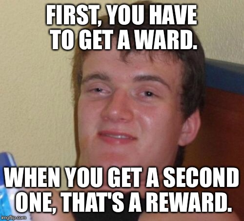 10 Guy Meme | FIRST, YOU HAVE TO GET A WARD. WHEN YOU GET A SECOND ONE, THAT'S A REWARD. | image tagged in memes,10 guy | made w/ Imgflip meme maker