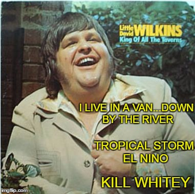 bad album art week: a KenJ, Shabbyrose2 production. This album is going to leave a mark. | I LIVE IN A VAN...DOWN BY THE RIVER KILL WHITEY TROPICAL STORM EL NINO | image tagged in bad album art week | made w/ Imgflip meme maker