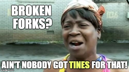 Aint Nobody Got Time For That Meme | BROKEN FORKS? AIN'T NOBODY GOT TINES FOR THAT! TINES | image tagged in memes,aint nobody got time for that | made w/ Imgflip meme maker