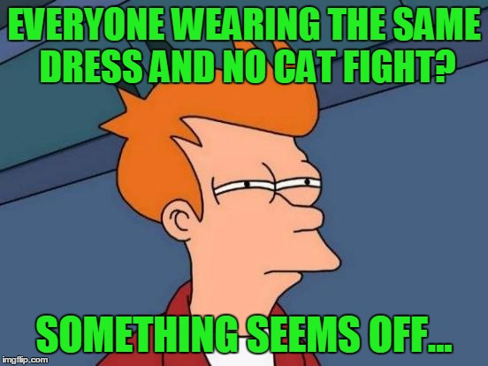 Futurama Fry Meme | EVERYONE WEARING THE SAME DRESS AND NO CAT FIGHT? SOMETHING SEEMS OFF... | image tagged in memes,futurama fry | made w/ Imgflip meme maker