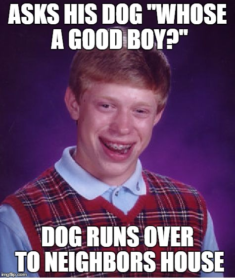 "Bad Luck Brian Meme | ASKS HIS DOG ""WHOSE A GOOD BOY?"" DOG RUNS OVER TO NEIGHBORS HOUSE 