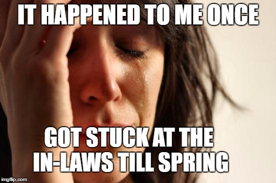 First World Problems Meme | IT HAPPENED TO ME ONCE GOT STUCK AT THE IN-LAWS TILL SPRING | image tagged in memes,first world problems | made w/ Imgflip meme maker