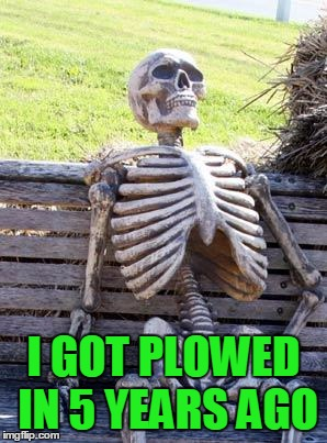 Waiting Skeleton Meme | I GOT PLOWED IN 5 YEARS AGO | image tagged in memes,waiting skeleton | made w/ Imgflip meme maker