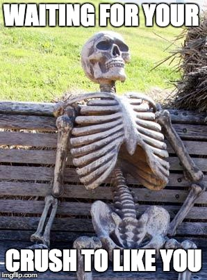 Waiting Skeleton Meme | WAITING FOR YOUR CRUSH TO LIKE YOU | image tagged in memes,waiting skeleton | made w/ Imgflip meme maker