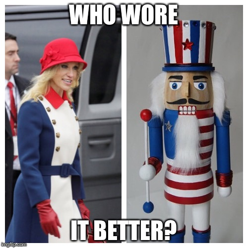 Nuttyanne Crackerway | WHO WORE IT BETTER? | image tagged in memes,funny memes,political memes,kellyanne conway,donald trump,donald trump approves | made w/ Imgflip meme maker