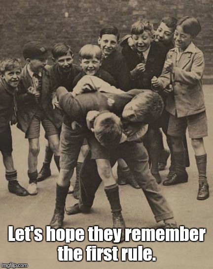Fight | Let's hope they remember the first rule. | image tagged in fight | made w/ Imgflip meme maker