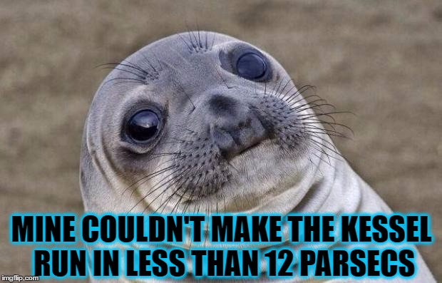Awkward Moment Sealion Meme | MINE COULDN'T MAKE THE KESSEL RUN IN LESS THAN 12 PARSECS | image tagged in memes,awkward moment sealion | made w/ Imgflip meme maker