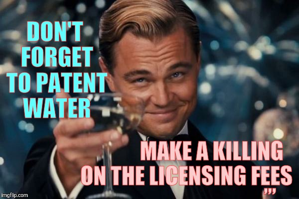Leonardo Dicaprio Cheers Meme | DON'T FORGET TO PATENT WATER MAKE A KILLING ON THE LICENSING FEES ,,, | image tagged in memes,leonardo dicaprio cheers | made w/ Imgflip meme maker