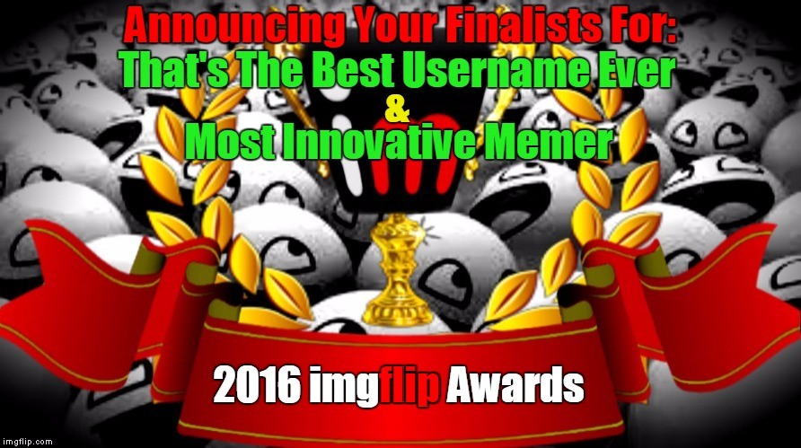 "2016 imgflip Awards Finalists for ""Best Username Ever"" & Most Innovative Memer"" 