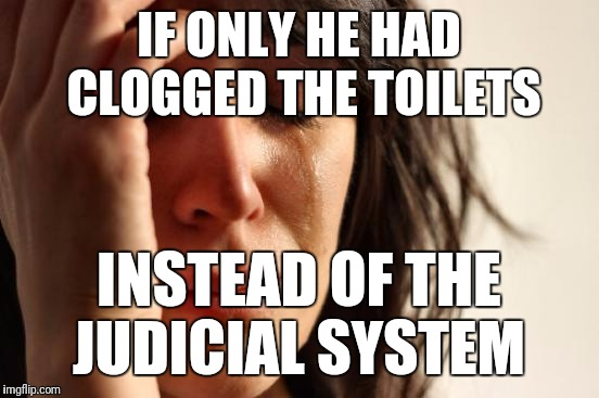 First World Problems Meme | IF ONLY HE HAD CLOGGED THE TOILETS INSTEAD OF THE JUDICIAL SYSTEM | image tagged in memes,first world problems | made w/ Imgflip meme maker