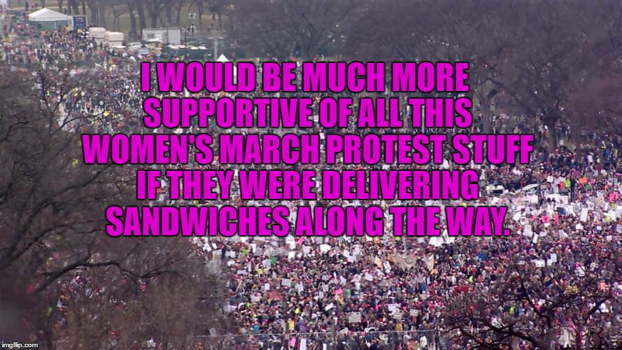 I WOULD BE MUCH MORE SUPPORTIVE OF ALL THIS WOMEN'S MARCH PROTEST STUFF IF THEY WERE DELIVERING SANDWICHES ALONG THE WAY. | image tagged in womens march,funny,funny memes,political,silly | made w/ Imgflip meme maker