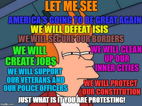 I think they are protesting AMERICA! | LET ME SEE AMERICA'S GOING TO BE GREAT AGAIN WE WILL DEFEAT ISIS WE WILL SECURE OUR BORDERS WE WILL CREATE JOBS WE WILL CLEAN UP OUR INNER C | image tagged in memes,futurama fry | made w/ Imgflip meme maker