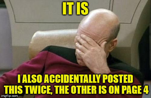Captain Picard Facepalm Meme | IT IS I ALSO ACCIDENTALLY POSTED THIS TWICE, THE OTHER IS ON PAGE 4 | image tagged in memes,captain picard facepalm | made w/ Imgflip meme maker