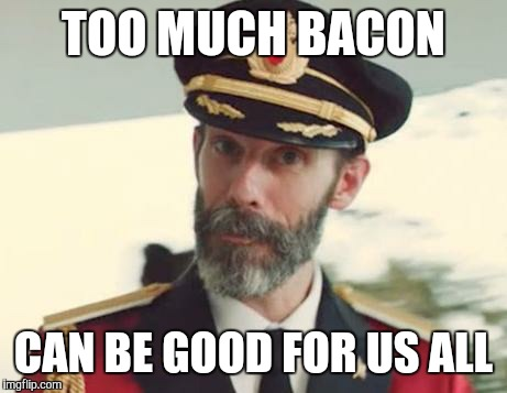 TOO MUCH BACON CAN BE GOOD FOR US ALL | made w/ Imgflip meme maker