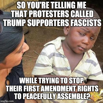 Third World Skeptical Kid Meme | SO YOU'RE TELLING ME THAT PROTESTERS CALLED TRUMP SUPPORTERS FASCISTS WHILE TRYING TO STOP THEIR FIRST AMENDMENT RIGHTS TO PEACEFULLY ASSEMB | image tagged in memes,third world skeptical kid | made w/ Imgflip meme maker