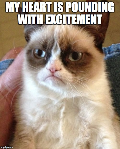 Grumpy Cat Meme | MY HEART IS POUNDING WITH EXCITEMENT | image tagged in memes,grumpy cat | made w/ Imgflip meme maker