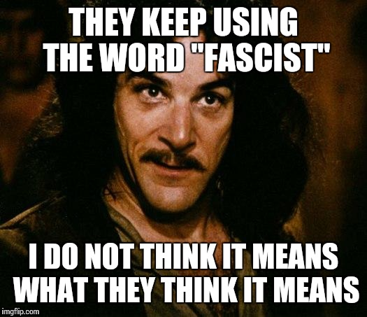 "THEY KEEP USING THE WORD ""FASCIST"" I DO NOT THINK IT MEANS WHAT THEY THINK IT MEANS 