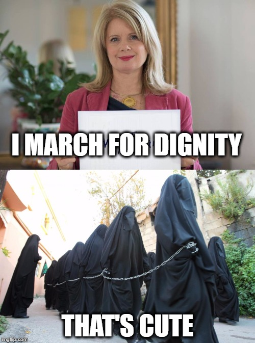 I MARCH FOR DIGNITY THAT'S CUTE | image tagged in womens march | made w/ Imgflip meme maker