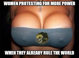 WOMEN PROTESTING FOR MORE POWER WHEN THEY ALREADY RULE THE WORLD | image tagged in big boobs | made w/ Imgflip meme maker
