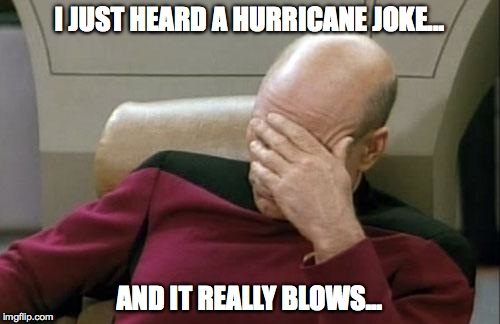 Captain Picard Facepalm Meme | I JUST HEARD A HURRICANE JOKE... AND IT REALLY BLOWS... | image tagged in memes,captain picard facepalm | made w/ Imgflip meme maker