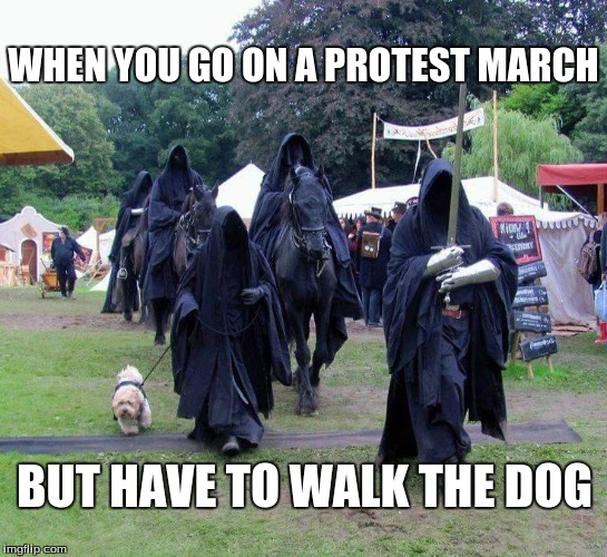 WHEN YOU GO ON A PROTEST MARCH; BUT HAVE TO WALK THE DOG | image tagged in trump protestors,walking,dog | made w/ Imgflip meme maker