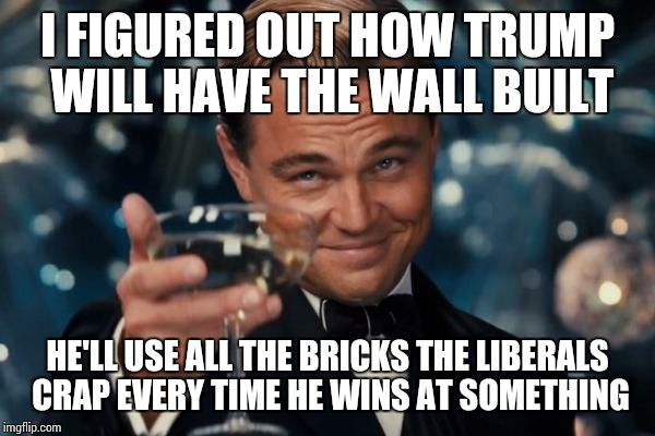 Leonardo Dicaprio Cheers Meme | I FIGURED OUT HOW TRUMP WILL HAVE THE WALL BUILT HE'LL USE ALL THE BRICKS THE LIBERALS CRAP EVERY TIME HE WINS AT SOMETHING | image tagged in memes,leonardo dicaprio cheers | made w/ Imgflip meme maker
