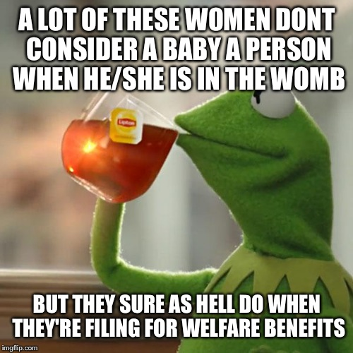 But Thats None Of My Business Meme | A LOT OF THESE WOMEN DONT CONSIDER A BABY A PERSON WHEN HE/SHE IS IN THE WOMB BUT THEY SURE AS HELL DO WHEN THEY'RE FILING FOR WELFARE BENEF | image tagged in memes,but thats none of my business,kermit the frog | made w/ Imgflip meme maker