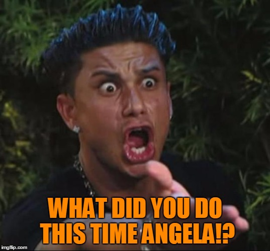 Pauly | WHAT DID YOU DO THIS TIME ANGELA!? | image tagged in pauly | made w/ Imgflip meme maker
