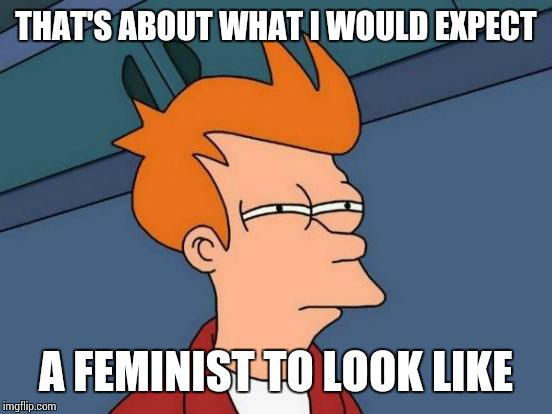 Futurama Fry Meme | THAT'S ABOUT WHAT I WOULD EXPECT A FEMINIST TO LOOK LIKE | image tagged in memes,futurama fry | made w/ Imgflip meme maker
