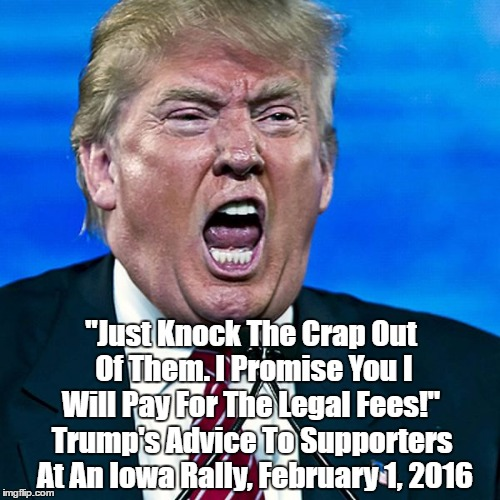 """Just Knock The Crap Out Of Them. I Promise You I Will Pay For The Legal Fees!"" Trump's Advice To Supporters At An Iowa Rally, February 1, 2 