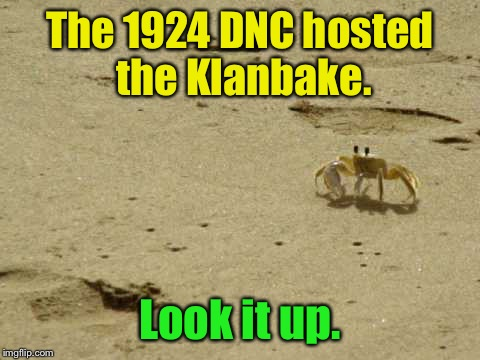 The 1924 DNC hosted the Klanbake. Look it up. | image tagged in little acknowledged fact crab | made w/ Imgflip meme maker