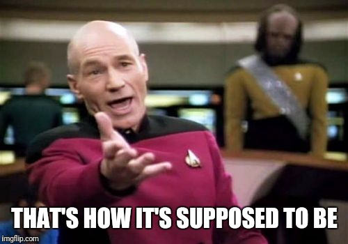 Picard Wtf Meme | THAT'S HOW IT'S SUPPOSED TO BE | image tagged in memes,picard wtf | made w/ Imgflip meme maker
