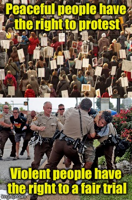 The difference between protesters and lawbreakers | Peaceful people have the right to protest Violent people have the right to a fair trial | image tagged in protesters | made w/ Imgflip meme maker