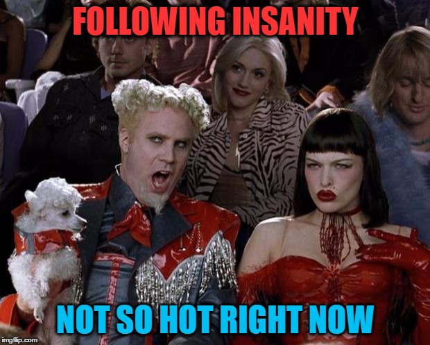 Mugatu So Hot Right Now Meme | FOLLOWING INSANITY NOT SO HOT RIGHT NOW | image tagged in memes,mugatu so hot right now | made w/ Imgflip meme maker