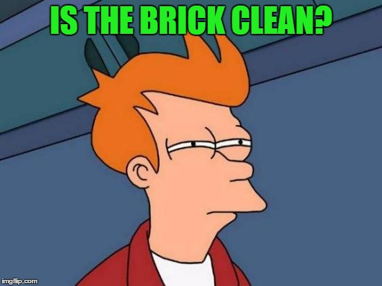 Futurama Fry Meme | IS THE BRICK CLEAN? | image tagged in memes,futurama fry | made w/ Imgflip meme maker