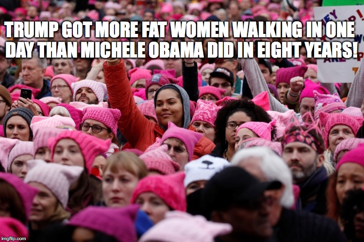 Fat Women Walking | TRUMP GOT MORE FAT WOMEN WALKING IN ONE DAY THAN MICHELE OBAMA DID IN EIGHT YEARS! | image tagged in women's rights,vagina hats,trump,michele,fat women | made w/ Imgflip meme maker