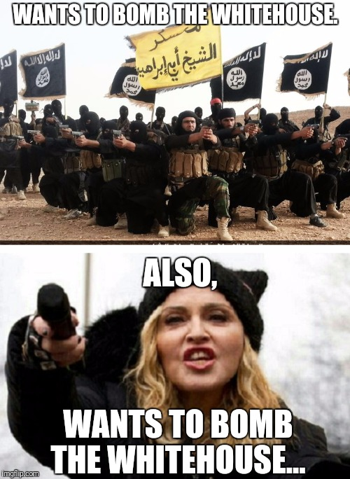 Nice uniforms.... | WANTS TO BOMB THE WHITEHOUSE. WANTS TO BOMB THE WHITEHOUSE... ALSO, | image tagged in madonna,isis,meme | made w/ Imgflip meme maker