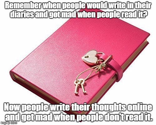 Shhh! | Remember when people would write in their diaries and got mad when people read it? Now people write their thoughts online and get mad when p | image tagged in diary,nobody cares,less is more | made w/ Imgflip meme maker