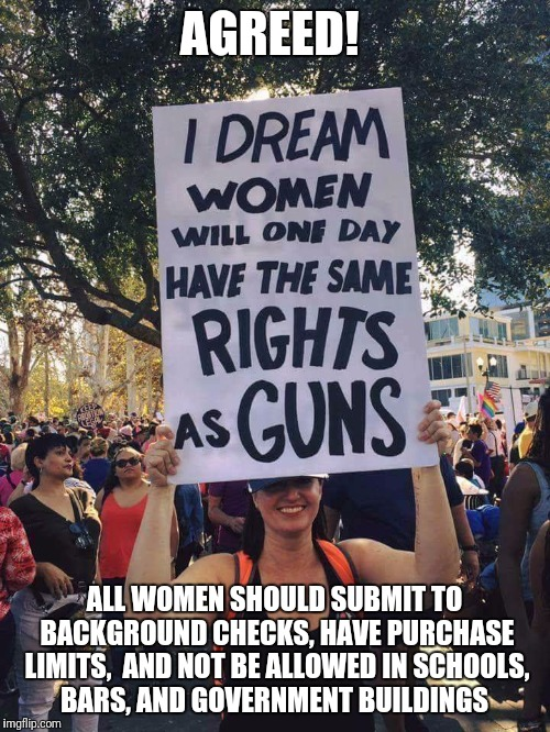 With rights comes responsibility | AGREED! ALL WOMEN SHOULD SUBMIT TO BACKGROUND CHECKS, HAVE PURCHASE LIMITS,  AND NOT BE ALLOWED IN SCHOOLS, BARS, AND GOVERNMENT BUILDINGS | image tagged in womens march,women rights,gun control,gun rights | made w/ Imgflip meme maker