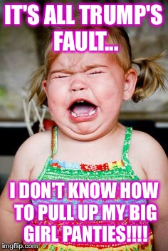 Crying baby | IT'S ALL TRUMP'S FAULT... I DON'T KNOW HOW TO PULL UP MY BIG GIRL PANTIES!!!! | image tagged in crying baby | made w/ Imgflip meme maker