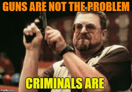 Am I The Only One Around Here Meme | GUNS ARE NOT THE PROBLEM CRIMINALS ARE | image tagged in memes,am i the only one around here | made w/ Imgflip meme maker