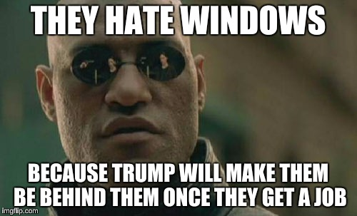 Matrix Morpheus Meme | THEY HATE WINDOWS BECAUSE TRUMP WILL MAKE THEM BE BEHIND THEM ONCE THEY GET A JOB | image tagged in memes,matrix morpheus | made w/ Imgflip meme maker