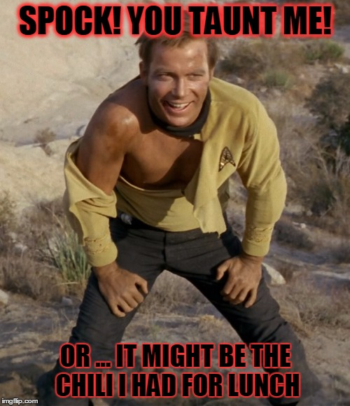 SPOCK! YOU TAUNT ME! OR ... IT MIGHT BE THE CHILI I HAD FOR LUNCH | made w/ Imgflip meme maker