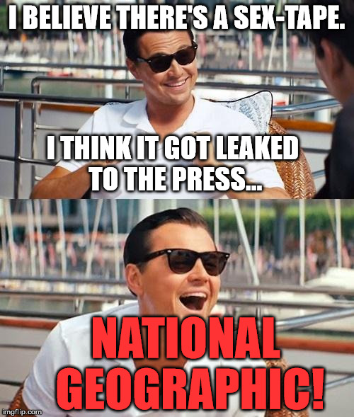 Dicaprio | I BELIEVE THERE'S A SEX-TAPE. I THINK IT GOT LEAKED TO THE PRESS... NATIONAL GEOGRAPHIC! | image tagged in dicaprio | made w/ Imgflip meme maker