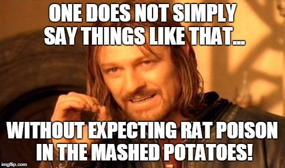 One Does Not Simply Meme | ONE DOES NOT SIMPLY SAY THINGS LIKE THAT... WITHOUT EXPECTING RAT POISON IN THE MASHED POTATOES! | image tagged in memes,one does not simply | made w/ Imgflip meme maker